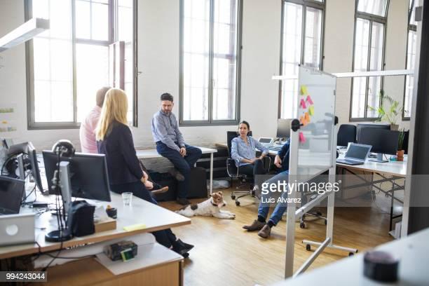 entrepreneurs discussing strategy during meeting - finanzwirtschaft und industrie stock-fotos und bilder