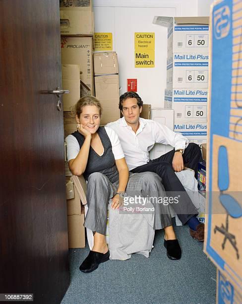 Entrepreneurs Martha Lane Fox and Brent Hoberman cofounders of online travel agency Lastminutecom circa 2000