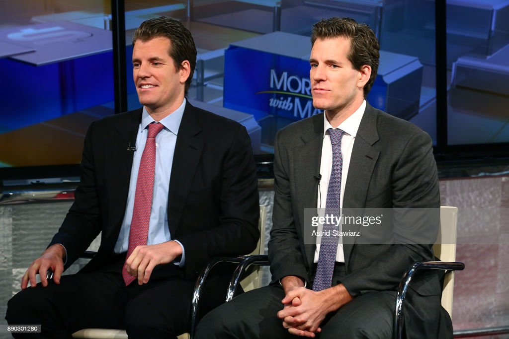 Entrepreneurs Tyler Winklevoss and Cameron Winklevoss discuss bitcoin with with Maria Bartiromo during FOX Business' 'Mornings With Maria' at FOX Studios on December 11, 2017 in New York City.
