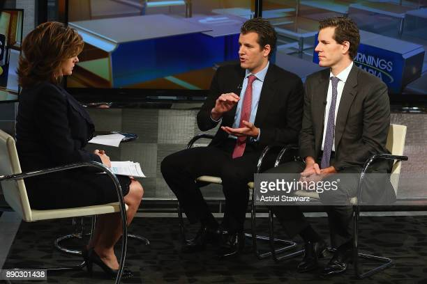 Entrepreneurs Tyler Winklevoss and Cameron Winklevoss discuss bitcoin with with Maria Bartiromo during FOX Business' 'Mornings With Maria' at FOX...