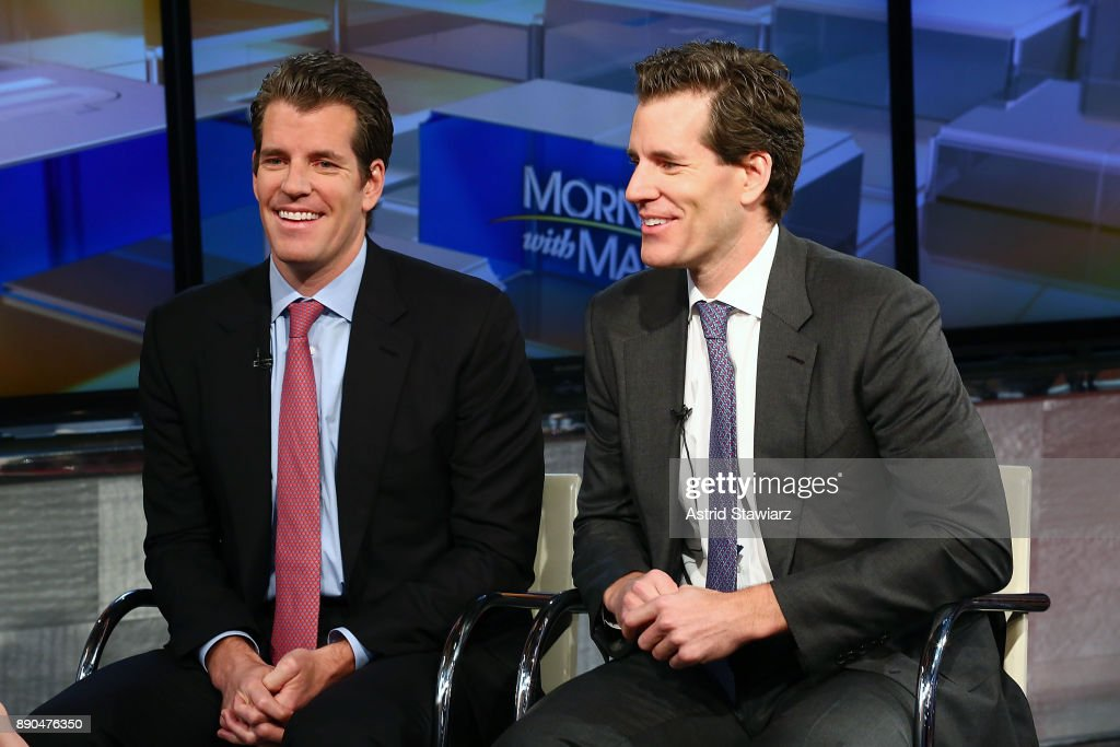 Entrepreneurs Tyler Winklevoss and Cameron Winklevoss discuss bitcoin with with Maria Bartiromo during FOX Business' 'Wall Street Week' at FOX Studios on December 11, 2017 in New York City.