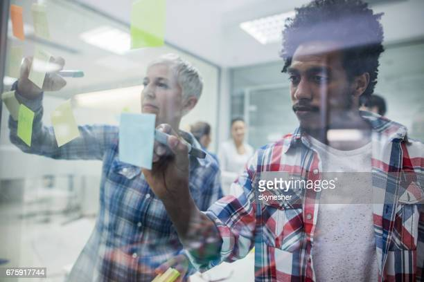 Entrepreneurs writing adhesive notes on a glass in the office.