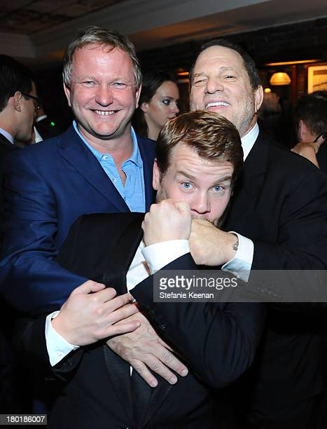 Entrepreneur/Soho House founder and owner Nick Jones actor James Corden and producer Harvey Weinstein at the Grey Goose vodka party for The Weinstein...