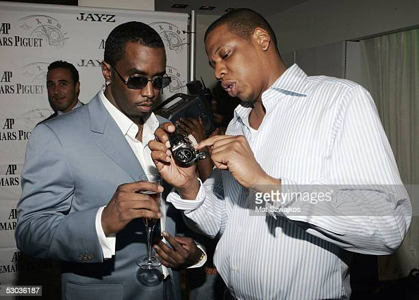 Entreprenuers JayZ and PDiddy attend the Launch Party for JayZ's Limited Edition Audemars Piguet watches and iPods at Audemars Piguet Boutique on...