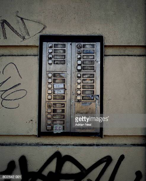 entry intercom to block of flats, close-up - intercom stock pictures, royalty-free photos & images