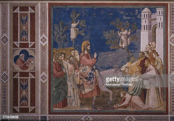 """Entry into Jerusalem , by Giotto, 1303-1305, 14th Century, fresco Italy, Veneto, Padua, Scrovegni Chapel. After restoration picture. Whole artwork..."