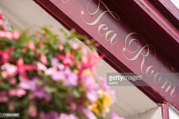 entry of a british tea room - tea room stock pictures, royalty-free photos & images