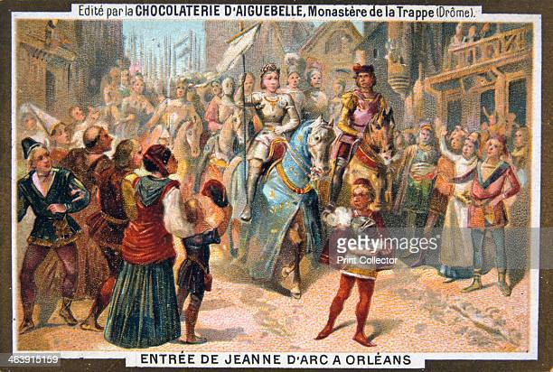 Entry of Joan of Arc into Orleans Joan of Arc leads the French army and defeats the English siege of the city of Orleans Card from a series produced...