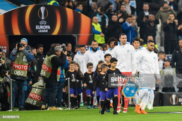 Entry of Players during the UEFA Europa League quarter final second leg match between Olympique Marseille and RB Leipzig at Stade Velodrome on April...