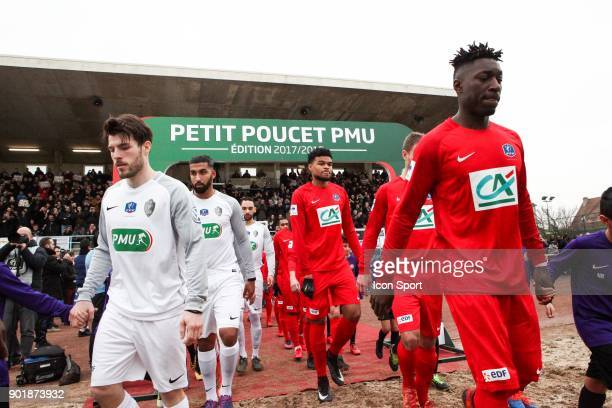 Entry of players from Houilles and Concarneau during the french National Cup match between Houilles and Concarneau on January 6 2018 in Houilles...