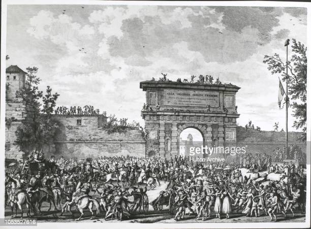 Entry of the French Army under Napoleon Bonaparte into Milan, in present-day Italy, 15th May 1796.