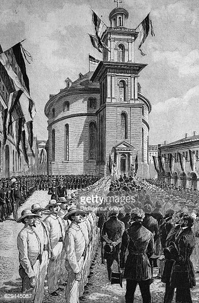 Entry of the members of parliament to the frankfurt paulskirche church frankfurt am main germany wood engraving europe