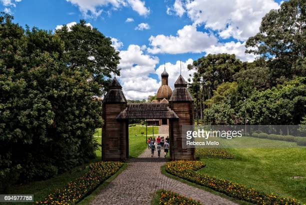 entry of the ukrainian memorial - curitiba stock pictures, royalty-free photos & images