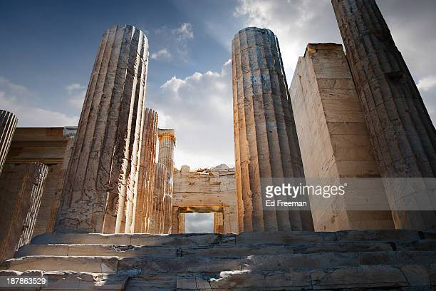 entryway into the acropolis - parthenon athens stock pictures, royalty-free photos & images