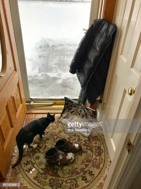 entryway obstacles - snow boot stock photos and pictures