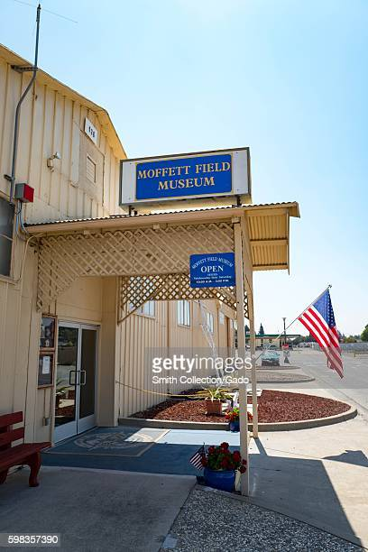 Entryway with American Flag to the Moffett Field Historical Museum within the secure area of the NASA Ames Research Center campus in the Silicon...