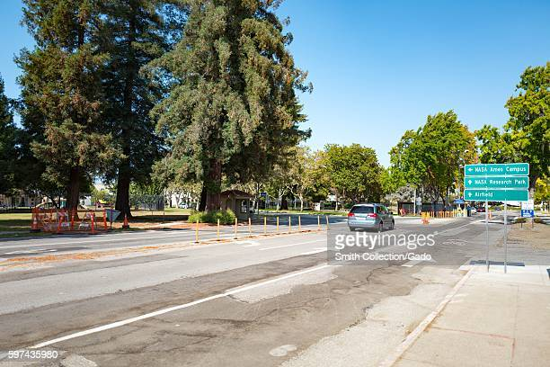 Entryway with signage at National Aeronautics and Space Administration Ames Research Center/Moffett Field in the Silicon Valley town of Mountain View...