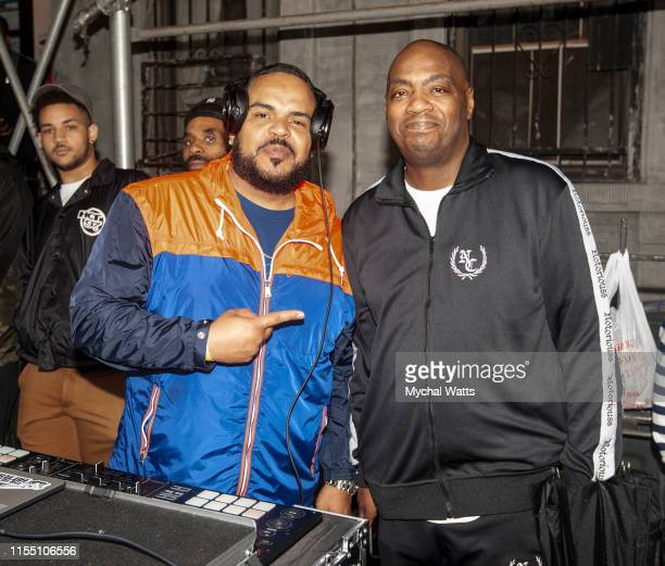 Enuff and DJ Mister Tee play to honor the Notorious B.I.G. Street Naming in Brooklyn New York on June 10, 2019 in Brooklyn, New York. On June 10,...