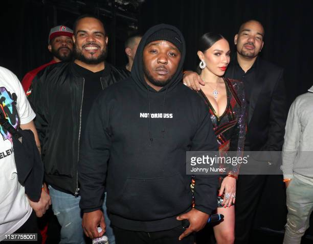 DJ Enuff Lil Cease Gia Casey and DJ Envy attend Pretty Lou's 3rd Annual Charity Concert With Fat Joe at Irving Plaza on April 16 2019 in New York City