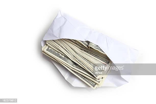 Envelope filled with stack of hundred dollar bills