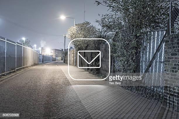 Envelope icon in night scene