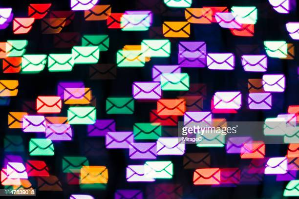 envelope shape bokeh backdrop - e mail foto e immagini stock