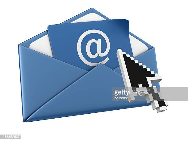 envelope with arroba and computer pointer - e mail inbox stock pictures, royalty-free photos & images