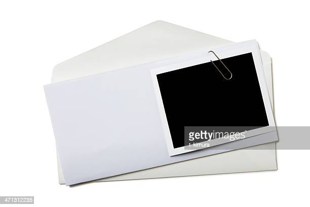 envelope with blank photo - binder clip stock pictures, royalty-free photos & images