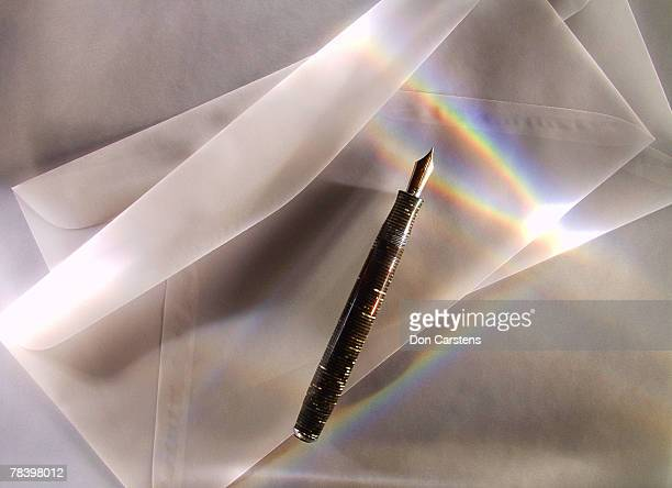 Envelopes and fountain pen