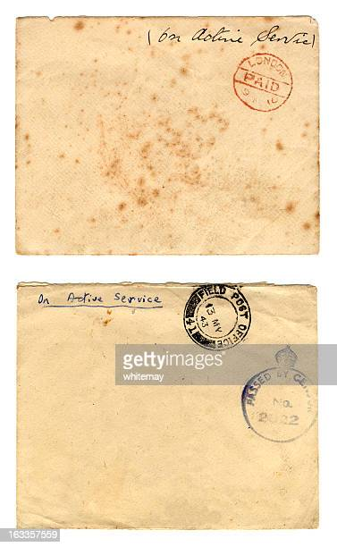 envelopes from two world wars - 1943 stock pictures, royalty-free photos & images