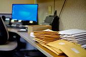 Envelopes on desk business office communication