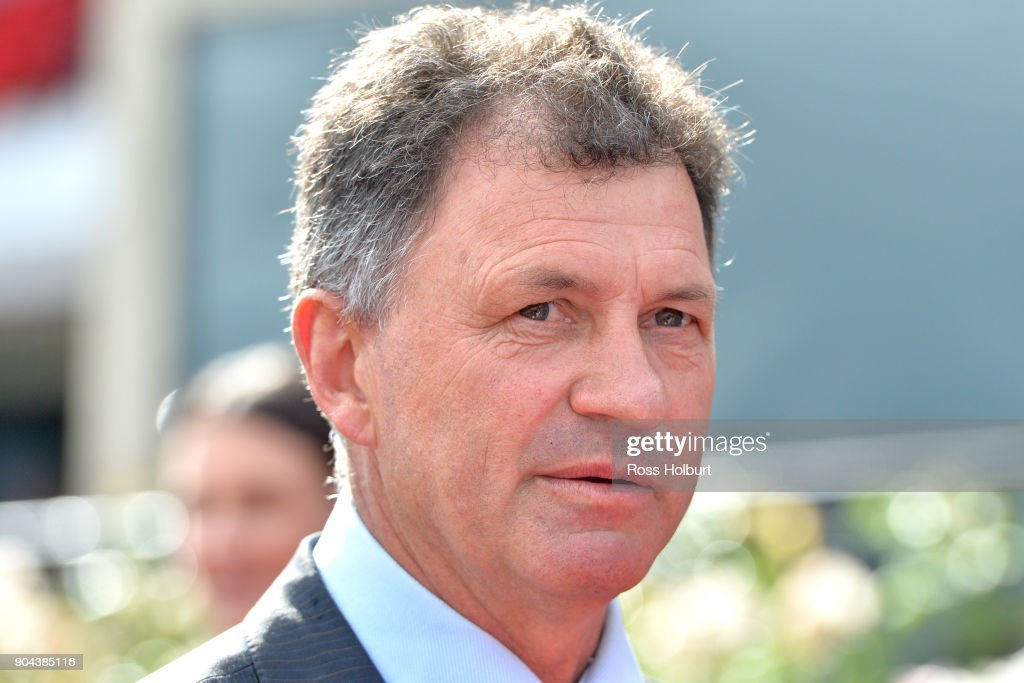 Enver Jusufovic after winning the Tauto Handicap at Flemington Racecourse on January 13, 2018 in Flemington, Australia.