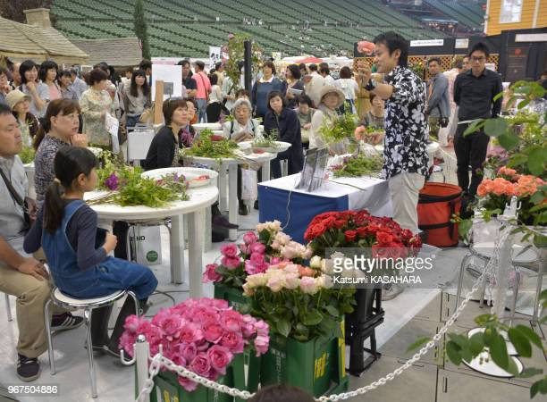 Environ un million de roses exposées du 16 au 17 mai 2015 lors de 'International Roses and Gardening Show' sur le terrain du stade de baseball 'Seibu...