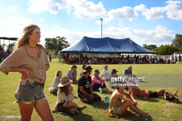 Environment activists camp at the Clermont Showground in protest against the proposed Adani coal mine on April 28 2019 in Clermont Australia Former...