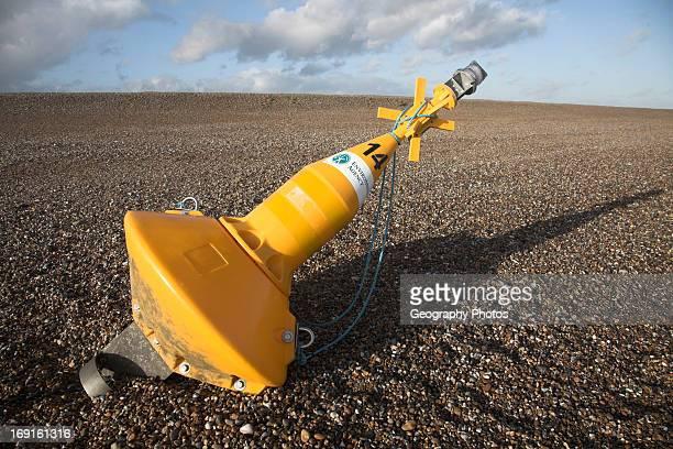 Environment Agency buoy on beach between Dunwich and Walberswick Suffolk England