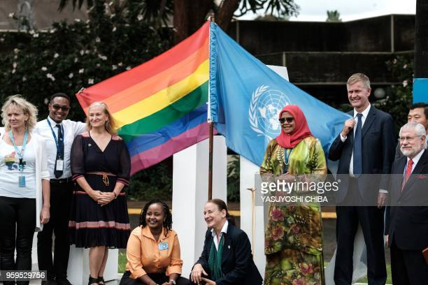 UN Environment Executive Director Erik Solheim and UN Human Settlements Programme exective director Maimunah Mohd Sharif pose with rainbow and UN...