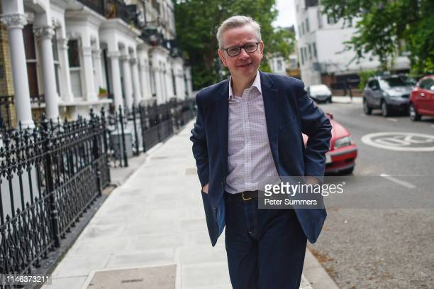 Environment, Food and Rural Affairs Minister Michael Gove arrives at his home on May 26, 2019 in London, England. Mr Gove announced that he is to...