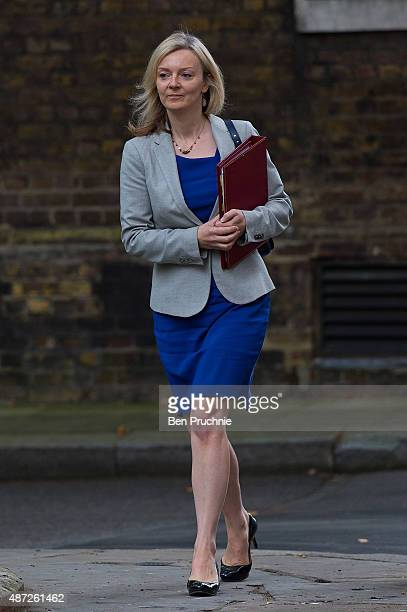 Environment Food and Rural Affairs Secretary Liz Truss arrives at Downing Street for a cabinet meeting on September 8 2015 in London England Prime...