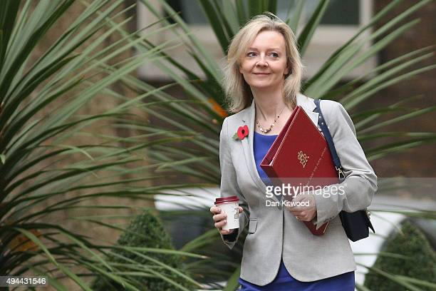 Environment Food and Rural Affairs Secretary Liz Truss arrives at Downing Street for a cabinet meeting on October 27 2015 in London England Peers in...