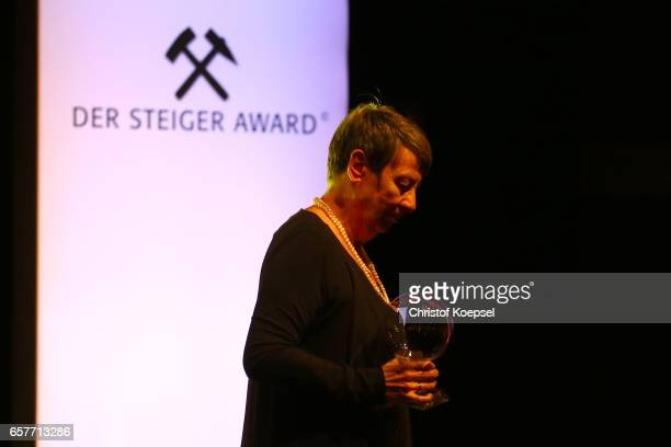 Environment honour award winner doctor Barbara Hendricks prime minister environment quits the stage during the Steiger Award on at Coal Mine...