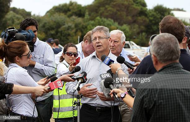 Environment Minister Bill Marmion fronts the media at a conference at the command centre on November 25 2011 in Margaret River Australia 4000...