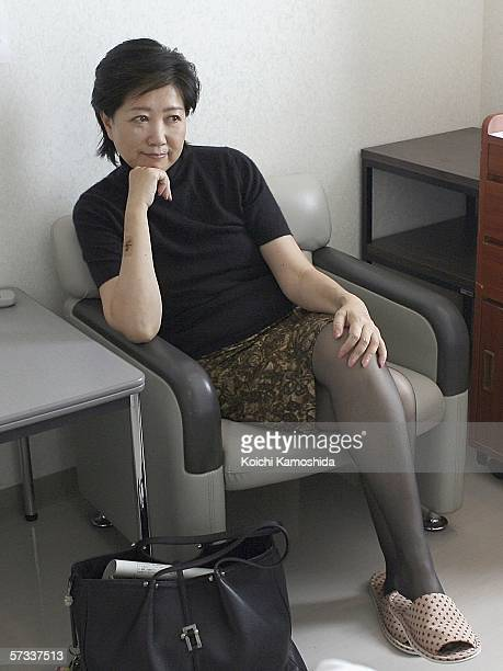 Environment Minister Yuriko Koike relaxes in her room before leaving hospital on April 14 2006 in Tokyo Japan Koike was hospitalized for half a month...