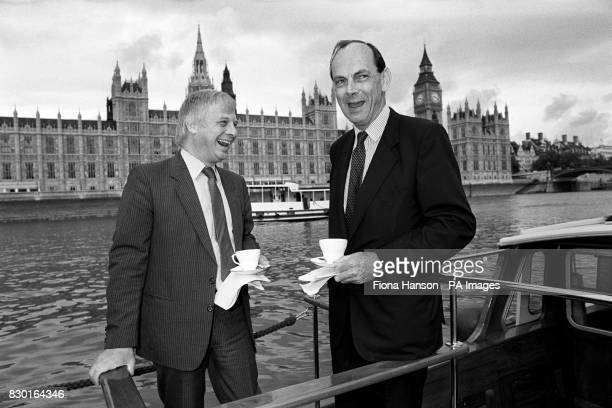 Environment secretary Chris Patten and Lord Crickhowell on the Thames, passing the Houses of Parliament, to launch the information booklet ''The...