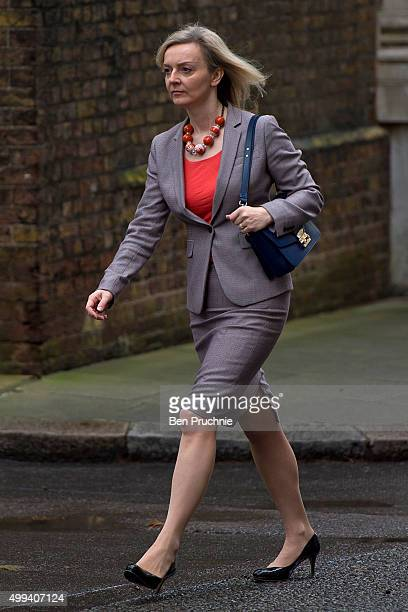 Environment Secretary Liz Truss arrives at Downing Street for a cabinet meeting on December 1 2015 in London England Prime Minister David Cameron...
