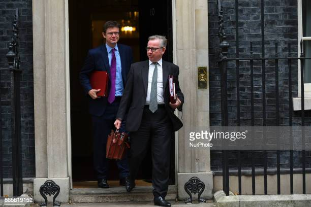Environment Secretary Michael Gove and Business Secretary Greg Clark leave 10 Downing Street following a cabinet meeting on October 24 2017 in London...