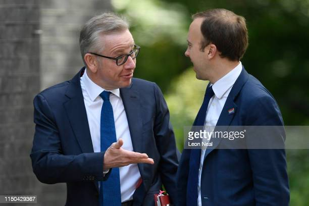 Environment Secretary Michael Gove and Health Secretary Matt Hancock arrive for a cabinet meeting at Downing Street on June 18, 2019 in London,...