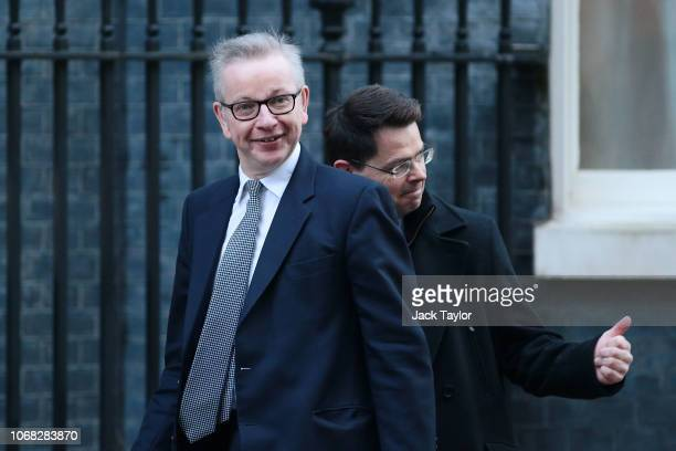 Environment Secretary Michael Gove and Housing Secretary James Brokenshire arrive at 10 Downing Street as Ministers attend a weekly cabinet meeting...