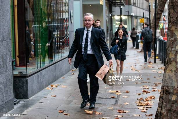 Environment Secretary Michael Gove arrives at the Department for Environment Food and Rural Affairs in Westminster on November 16 2018 in London...