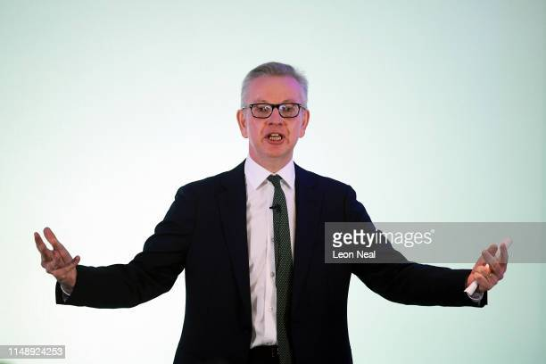 Environment Secretary Michael Gove gives a speech as he officially launches his Conservative leadership bid at the Sky Loft in Millbank Tower on June...