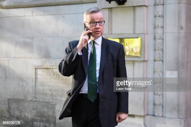 Environment Secretary Michael Gove leaves a television studio in Westminster on October 6, 2017 in London, England. Mr Gove was appearing on TV to...